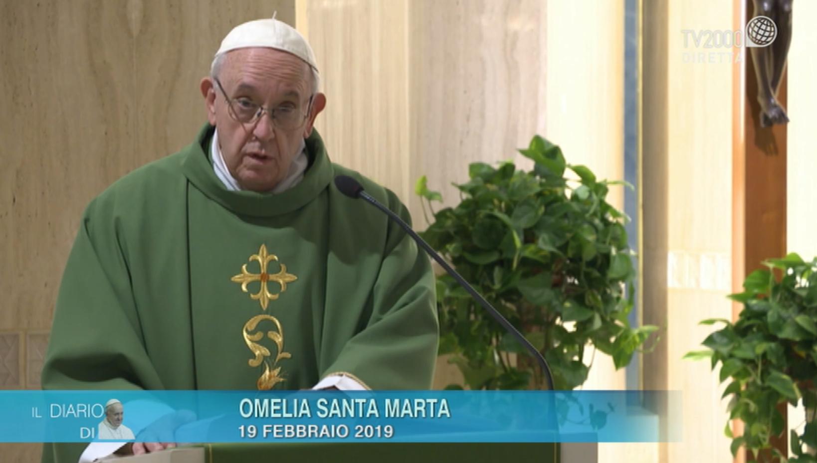 """Papa Francesco, omelia di Santa Marta del 19 febbraio 2019: """"I sentimenti di Dio"""""""