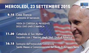 Viaggio Papa Francesco 23 settembre