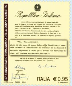 Francobolli ricordano, voto donne e Tina Anselmi ministro