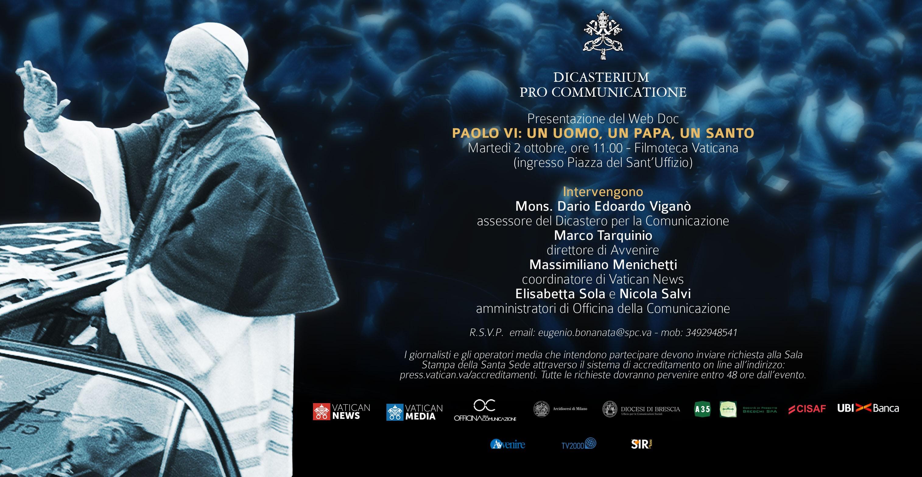 """Canonizzazione Paolo VI, presentazione del web doc """"Paolo VI: un uomo, un Papa, un santo"""""""