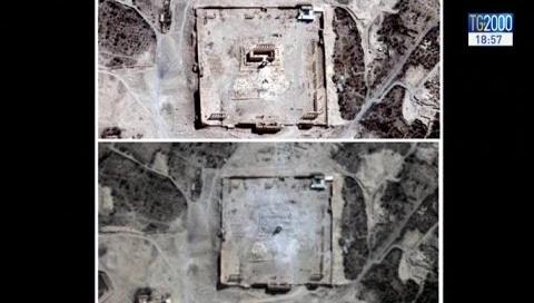 Palmira, le foto satellitari confermano la distruzione del Tempio di Bel da parte dell'Isis