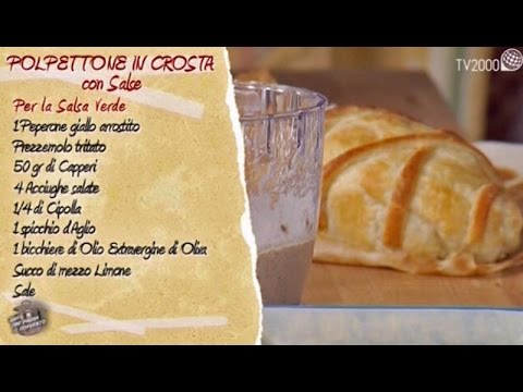 Polpettone in crosta con salsa verde e salsa ai funghi in due minuti